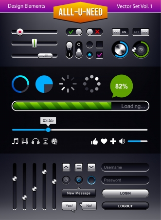 Vector set of user interface elements  Status bars and switchers UI kit