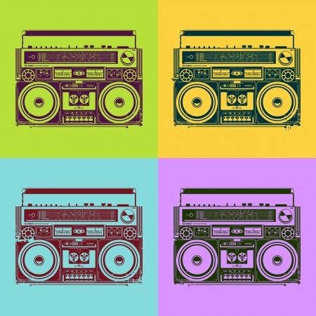 Old-school bandrecorders in psychedelische stijl Vector illustratie