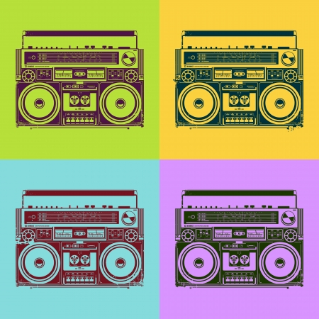 boombox: Old-school tape recorders in psychedelic style  Vector illustration  Illustration