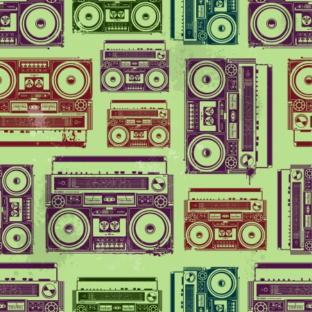 90s: Old-school tape recorders in psychedelic style  Seamless texture  Vector illustration
