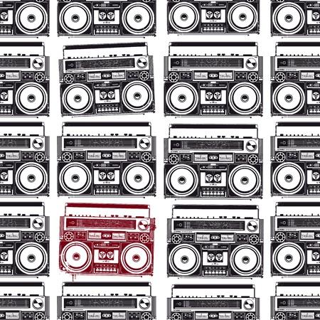 Old-school bandrecorders in psychedelische stijl Naadloze structuur Vector illustratie