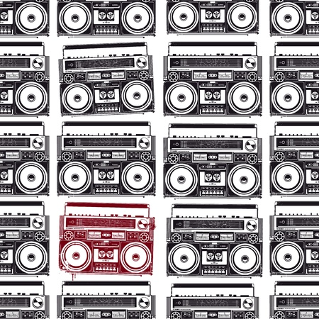Old-school tape recorders in psychedelic style Seamless texture Vector illustration