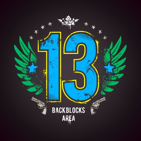 13: Grunge print with lucky 13 number. Vector illustration.