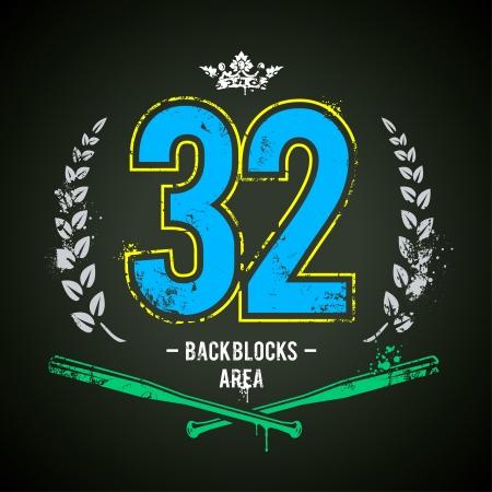 Grunge print met lucky 32 nummer. Vector illustratie. Stock Illustratie
