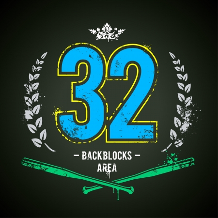 Grunge print with lucky 32 number. Vector illustration.