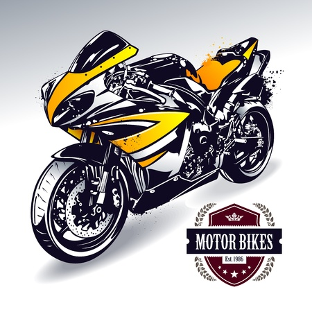 Sport motorbike with stylish club emblem  Vector illustration  Vector