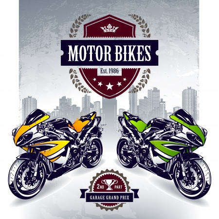 Two sport motorbikes with stylish club emblem  Vector illustration