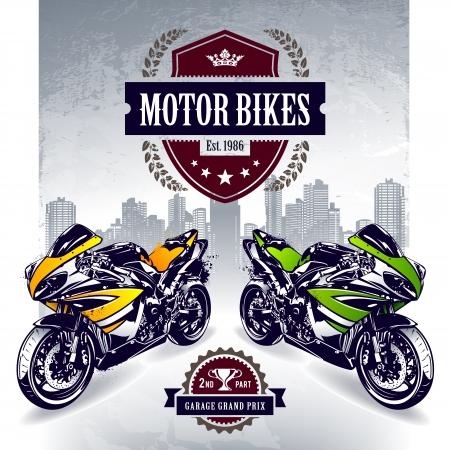 Two sport motorbikes with stylish club emblem  Vector illustration