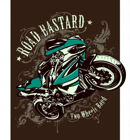 Vintage image of sport motorbike with heraldic patterns  Vector illustration  Ilustracja