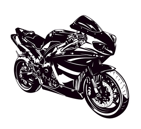 Sport motorbike isolated on white  Vector illustration  Illustration