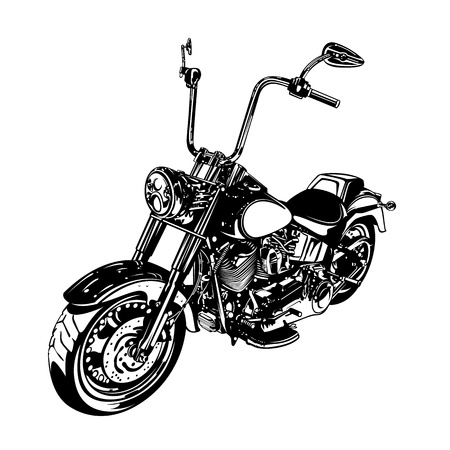 Chopper  customized motorcycle isolated on white  Vector illustration