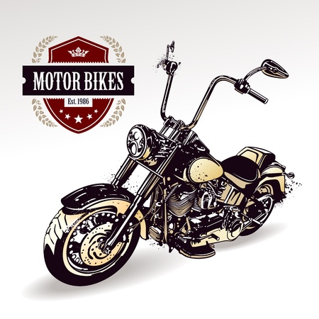 motorbike race: Chopper  customized motorcycle with club insignia  Vector illustration  Illustration