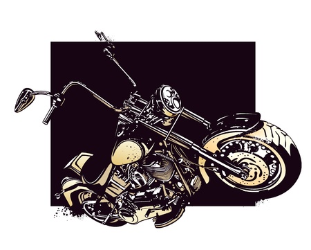 Chopper  customized motorcycle on dark background  Vector illustration  向量圖像