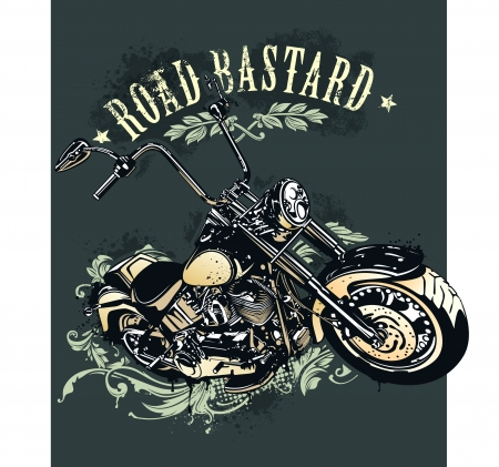 moto: Vintage image of chopper motorcycle with heraldic patterns  Vector illustration  Illustration