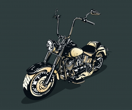 Vintage motorcycle isolated on dark background  Vector illustration  Vector