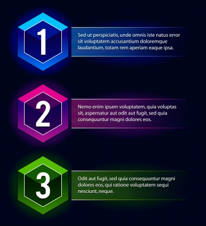 hight tech: Neon number options banners  Vector illustration