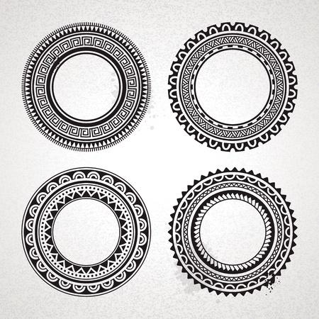 maschera tribale: Set di cerchio polinesiano tatuaggio in stile frame Vector illustration