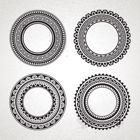 hawaiian culture: Set of circle polynesian tattoo styled frames  Vector illustration