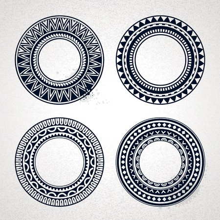 maories: Conjunto de c�rculo polinesio tatuaje estilo ilustraci�n vectorial marcos