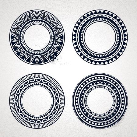 tribali: Set di cerchio polinesiano tatuaggio in stile frame Vector illustration