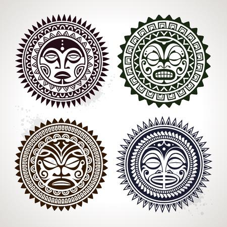 tribali: Set di tatuaggio in stile polinesiano maschere, vettore, illustrazione Vettoriali
