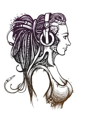 sexy dame met een koptelefoon Hand getrokken stijl Vector illustratie