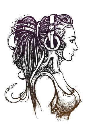 music machine: sexy lady with headphones  Hand drawn style  Vector illustration