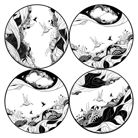 Circle bizarre illustrations set  Abstract doodle designs  Vector illustration  向量圖像