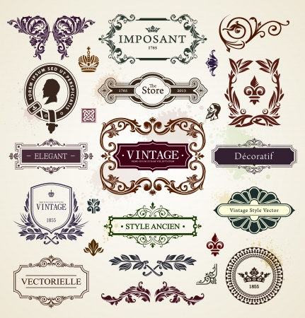 Vintage design elements  Calligraphic frames, floral patterns and banners  Vector illustration
