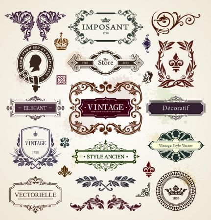 Vintage design elementen kalligrafische frames, bloemenpatronen en banners Vector illustratie