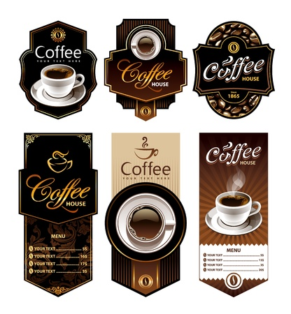 Coffee design banners  Menu and brand labels templates  Vector illustration