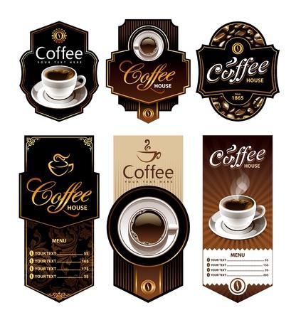 Koffieontwerp banners Menu en merklabels templates Vectorillustratie