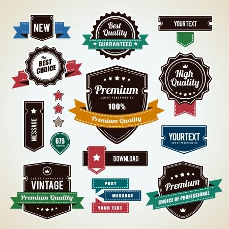 Set of vintage badges  Vintage premium quality labels  Vector illustration  Ilustracja