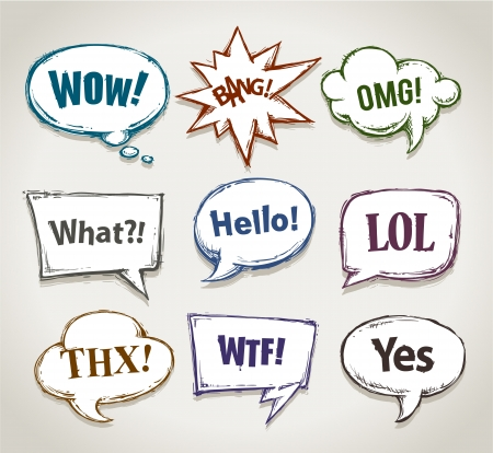 Hand drawn speech bubbles with short phrases  Vector illustration