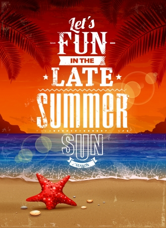 Summer retro poster  Seascape with vintage typography   illustration
