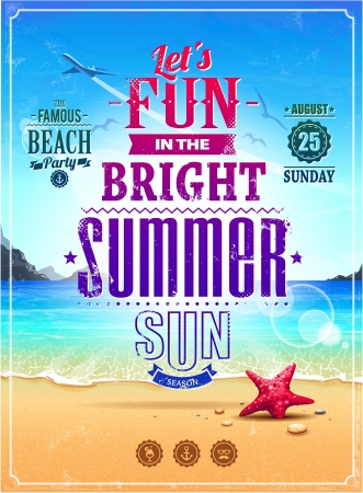 Summer retro poster  Seascape with vintage typography  Vector illustration