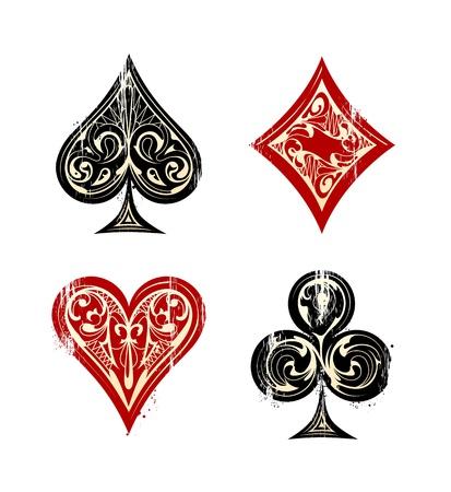 cartas de poker: Vintage Barajas Símbolos Conjunto de la ilustración Vectores