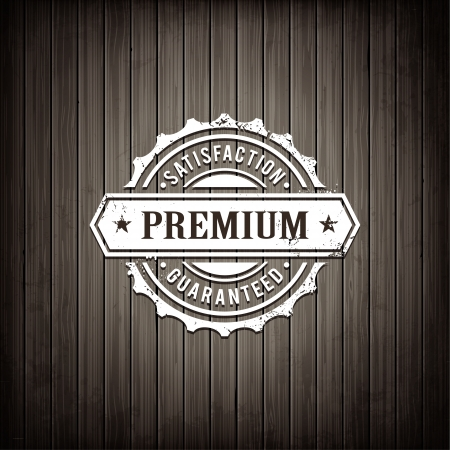 Premium quality emblem on wooden plank background  Retro styled satisfaction sign  Realistic grey wood texture illustration  Vectores