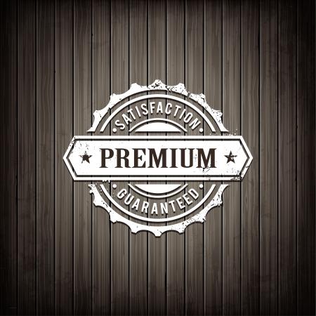 Premium kwaliteit embleem op houten plank achtergrond Retro stijl teken tevredenheid Realistische grijze houtstructuur illustratie