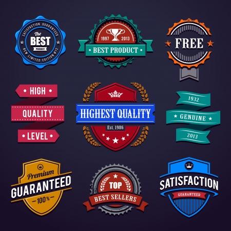 Vintage premium quality labels  Set of retro styled badges illustration