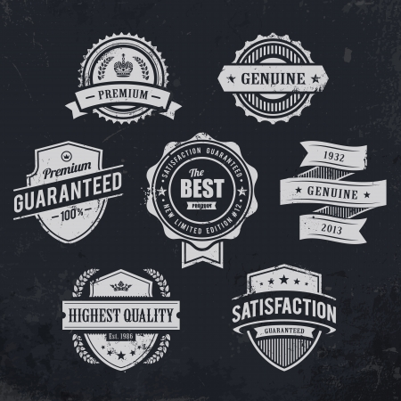Vintage premium quality labels on blackboard background  Set of retro styled badges illustration  向量圖像