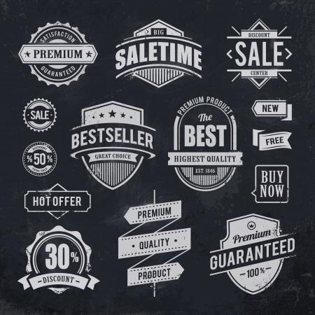 Krijt getrokken verkoop emblemen Set van retro stijl handel badges illustratie Stock Illustratie