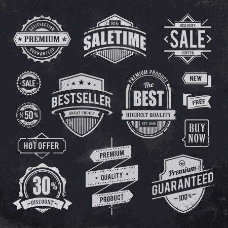 Chalk drawn sale emblems  Set of retro styled trade badges illustration  Vectores
