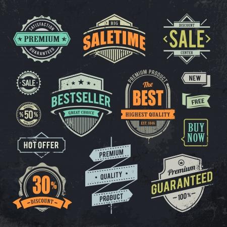 Grunge verkoop emblemen Set van retro stijl handel badges op vuile zwarte achtergrond illustratie