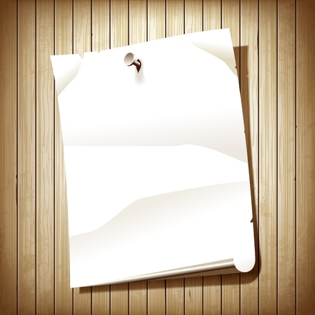 blank poster: Blank paper page on wooden plank background. White paper poster nailed to wall illustration.