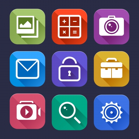 settings: Stijlvolle platte iconen vector set Grafische gebruikersinterface moderne elementen Vector illustratie