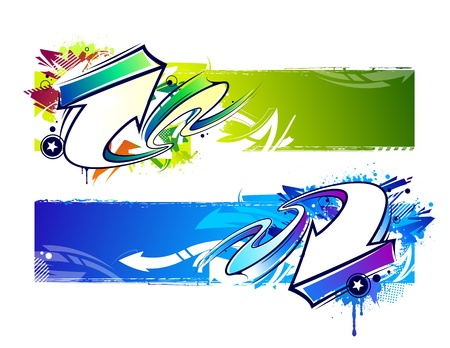 wall paint: Two abstract graffiti banners  Bright dirty grunge vector illustration