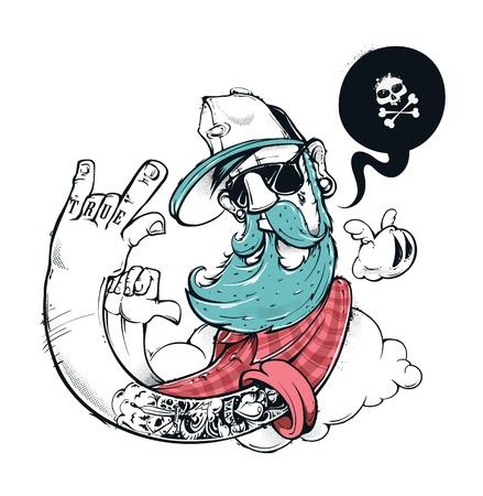 낙서 그림 소식통. 손으로 그린 소식통은 콧수염과 턱수염과 친구 문신. 벡터 일러스트 레이 션. 일러스트