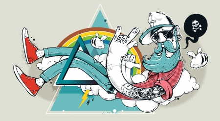 Abstract graffiti hipster illustration. Hand-drawn bizarre hipster dude on abstract triangle background. Vector illustration. Çizim