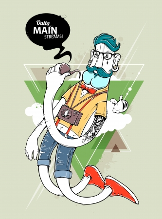 Hipster graffiti character on abstract triangle background. Hand-drawn hipster tattooed dude with mustache. Vector illustration.